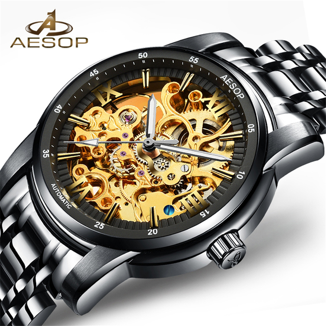 NEW Luxury Sapphire Automatic Skeleton Mens Watches Top Brand Fashion Black Relojes Hombre Clock Mechanical Watches Male Clock