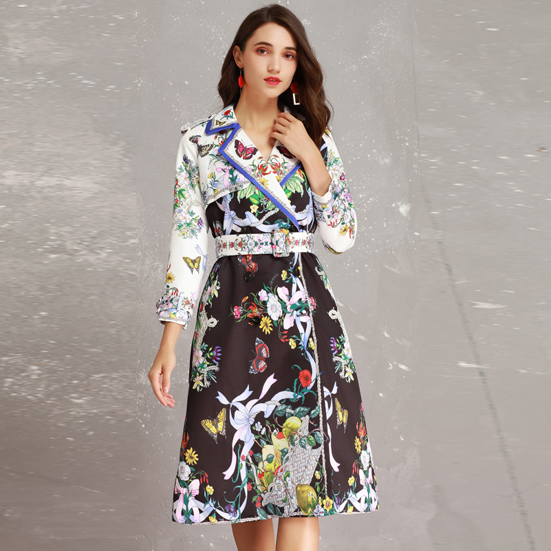 2019 Autumn New High Fashion Brand Woman Classic Double Breasted Trench Coat Business butterfly flower print Belt slim Outerwear