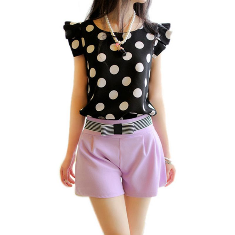 Summer Women Polka Dot Casual Tee Shirt Ruffled Shirt Tops Slim Fit Chiffon Blouse