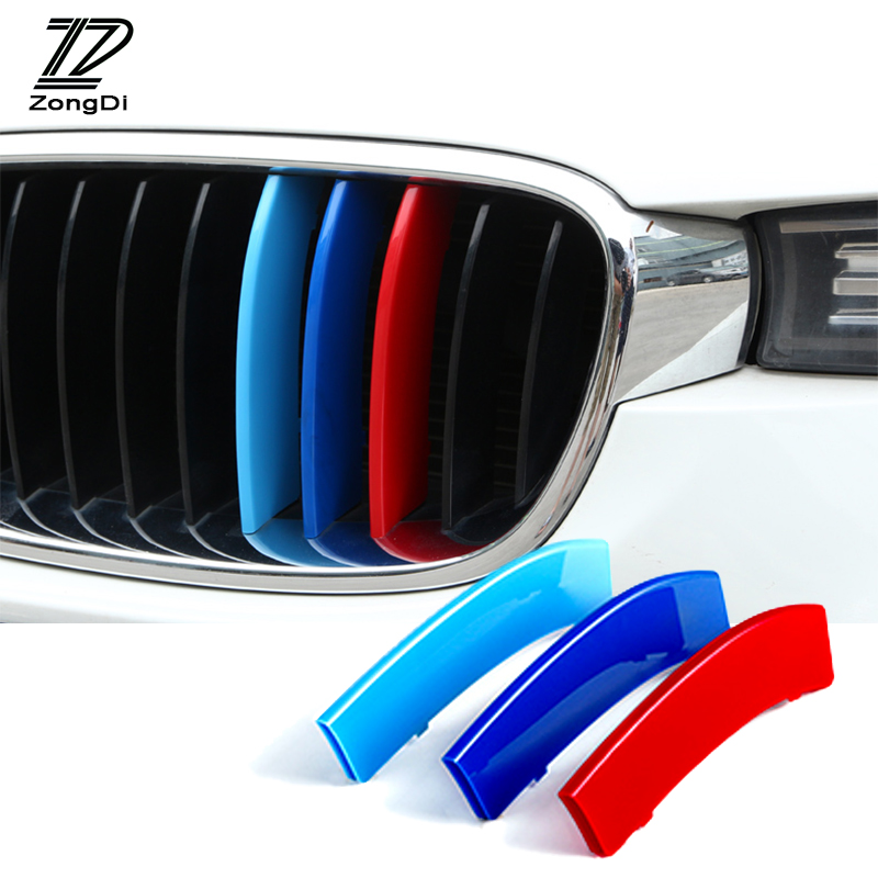 ZD 3pcs For BMW F30 F10 X5 E53 E70 F16 X6 E71 X1 X3 X4 F07 G30 F34 3D M Car Front Grille Trim Strips Cover Motorsport Stickers