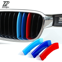 ZD 3pcs For BMW F30 F10 X5 E53 E70 F16 X6 E71 X1 X3 X4 F07 G30 F34 3D M Car Front Grille Trim Strips Cover Motorsport Stickers 3d carpet boratex brtx 2110 for bmw x5 x6 black e 70 71