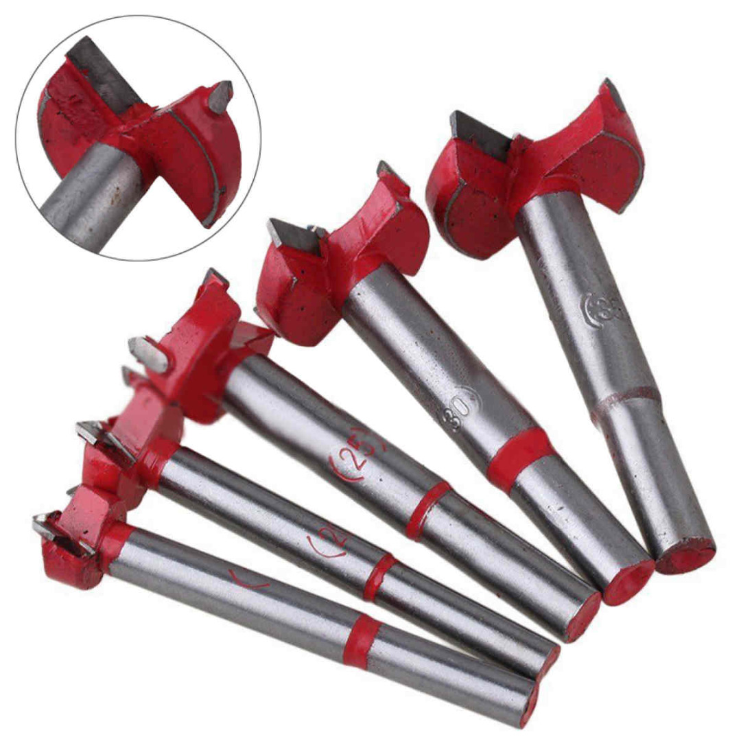 Mayitr 5pcs/Set Drill Bits Professional Forstner Woodworking Hole Saw Cutter  Hardware Hand Tools 16/20/25/30/35mm surprise price 22mm cobalt alloys forstner drill bits set for sale