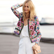 2016 Spring Autumn cropped bomber jacket women vintage flower floral print fashion casual slim slimming Thin cardigan