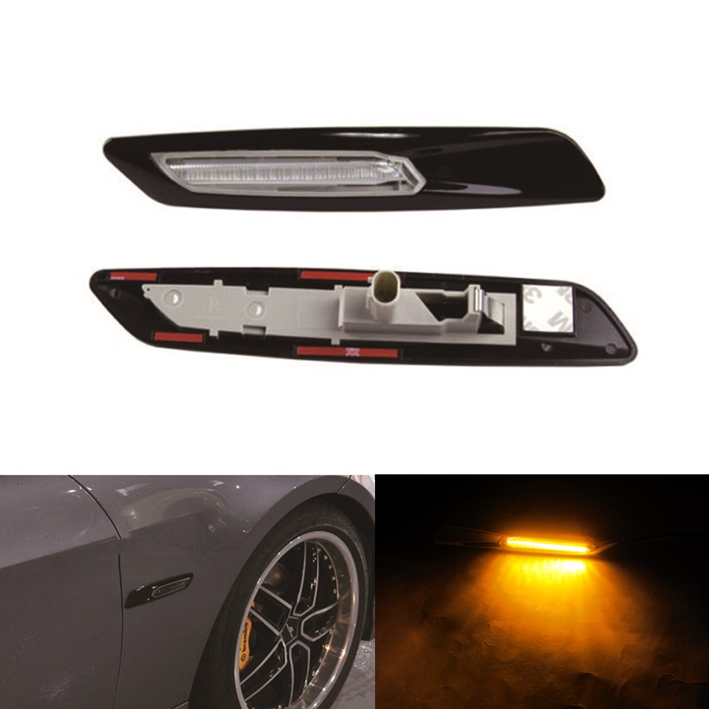 2pcs car black trim led fender side marker light turn signal lamp bulbs for bmw e60 e82 e87 e88. Black Bedroom Furniture Sets. Home Design Ideas