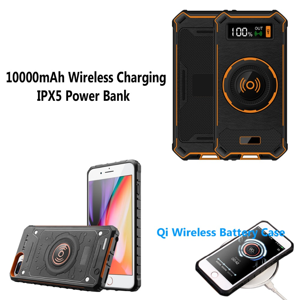 10000mAh For iPhone 6 6S 7 8 Plus Outdoor IPX5 Anti Fall Wireless Charging Power Bank + Qi Charger Battery Case Life waterproof