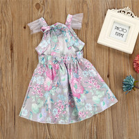 Hurave 2018 Summer Baby Girls Dress Clothes Children Fly Mesh Sleeve Kids Square Collar Printing Flower