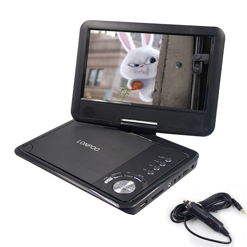 LONPOO New 9 Inch Portable DVD Player Swivel Screen VCD CD RW MP3 DVD Player USB SD Card RCA Game with Car Charger DVD Player 6 medium to dark