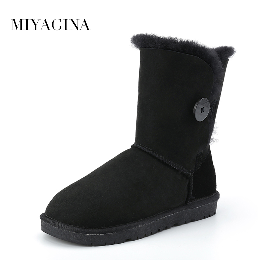 Top Quality 2018 New Fashion Women 100% Genuine Sheepskin Leather Snow Boots Natural Fur Mujer Botas Warm Wool Winter Shoes