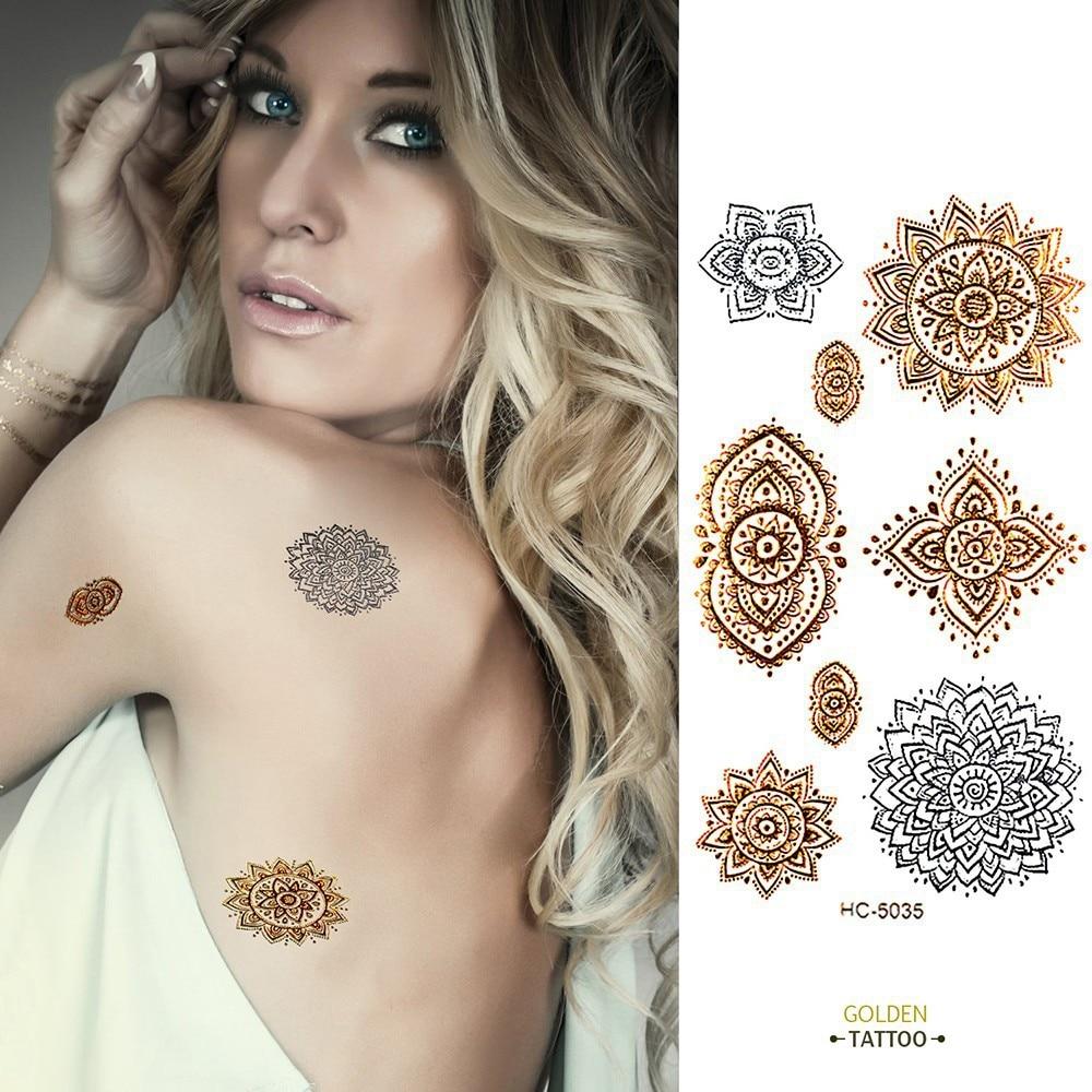 Golden Tatto Body Art  Metallic Temporary Tattoo Jewelry Bracelet Flash Tattoo Gold Tatoo  VH0235