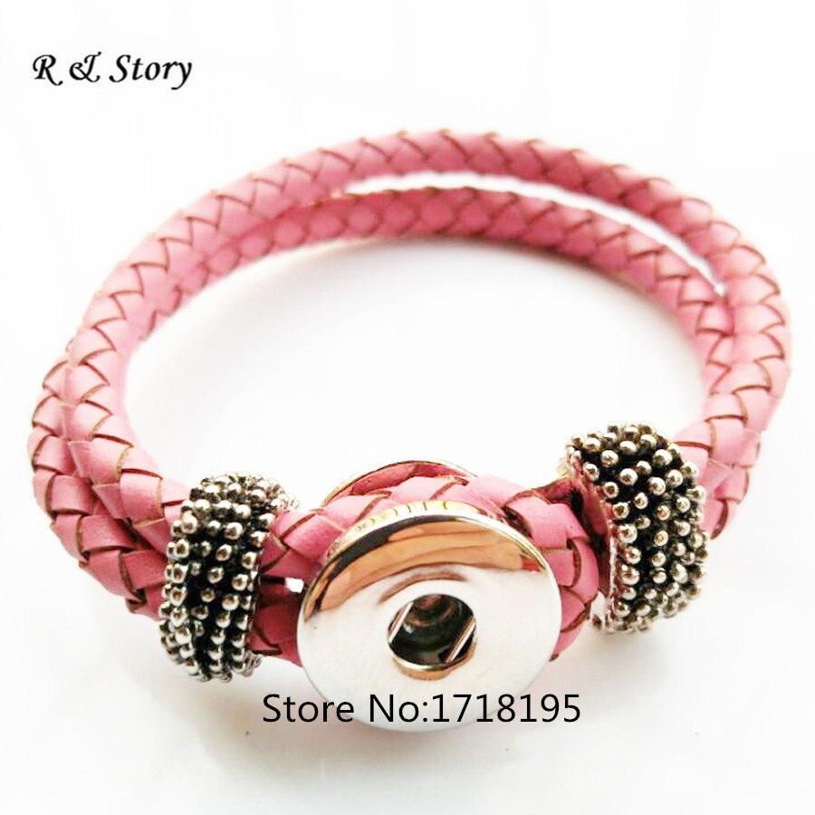 2018 Chaude En Cuir Bracelet Fit Snaps Boutons Snap BRICOLAGE Mode Rose Cuir  Véritable Aligner Bijoux Bracelets Femmes Cadeaux SB 193 e8dfa5cfcee3