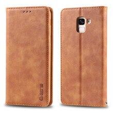 Coque J4 J6 A6 A8 Plus Couple Simple Fashion Carcasa Flip Leather Case For Samsung Galaxy A7 A9 2018 Card Cover