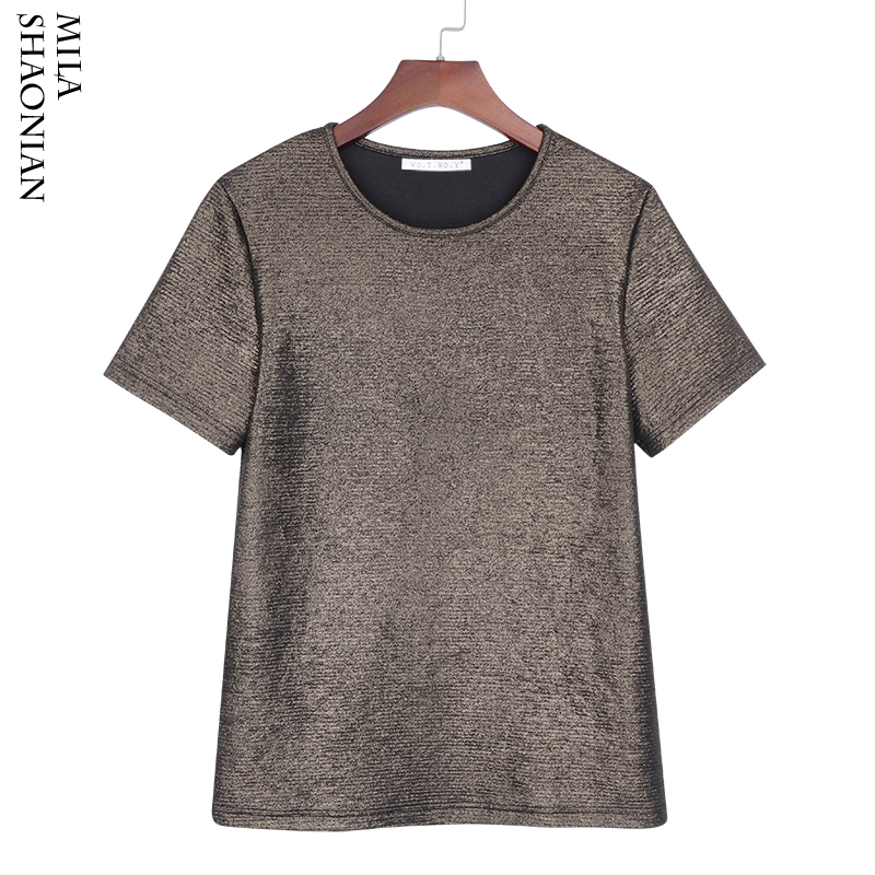 2018 New Summer Tops Shiny t shirt Women Loose Causal Tops Tee Shirt Women Silver t shirt O-Neck Solid Base T-shirt  T7389