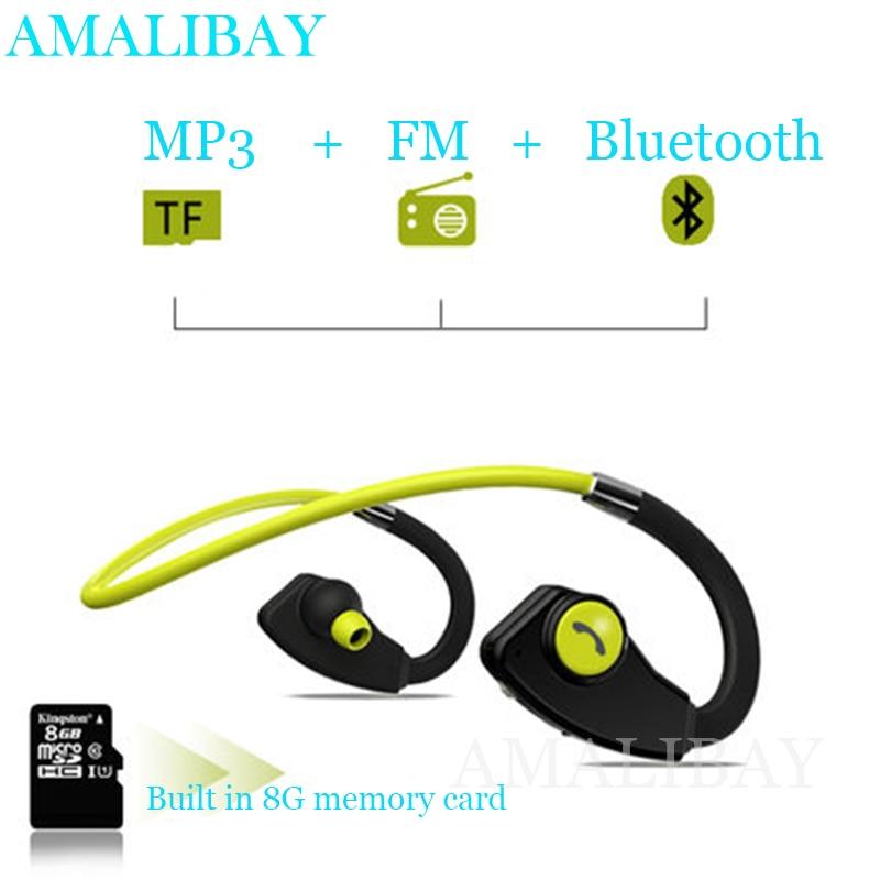 Sport Bluetooth Earphone Running MP3 Player Headphone FM Radio Wireless Headset Voice Prompt Built-in 8G Fone De Ouvido kulakllk