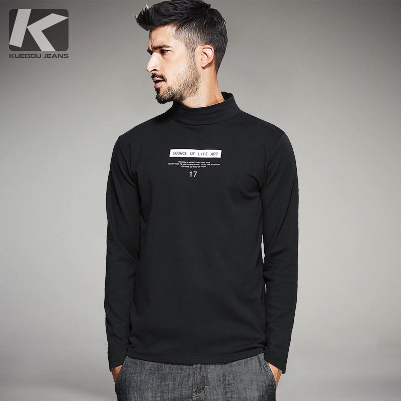 KUEGOU 2017 Black Long Sleeve turtleneck T-Shirt Male Wear  Streetwear Cotton Over Suprem Size Free Shipping