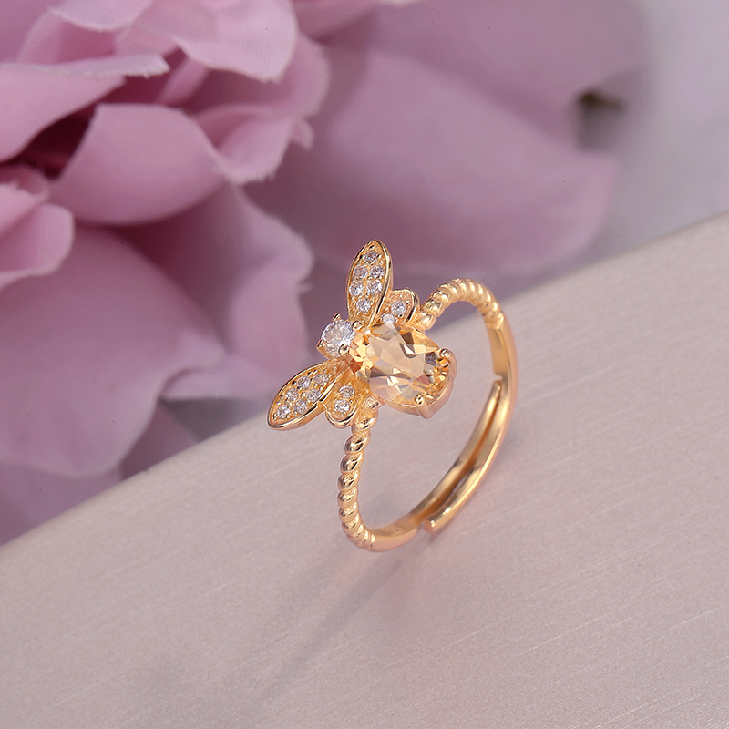 Citrine-Rings Ring 14k Yellow S925 Fine-Jewelry Sterling-Silver Gold-Color Cute Lovely