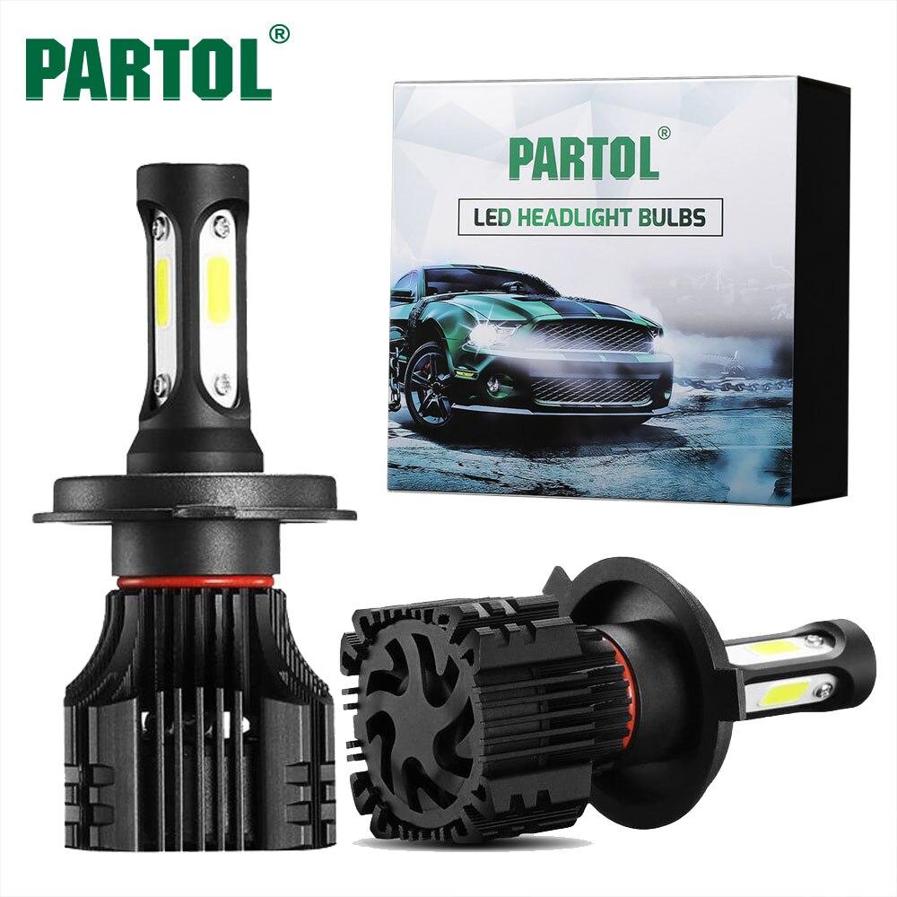 Partol S5 COB 72W H1 H4 H7 H11 9005 9006 LED Headlight Bulbs Car <font><b>Lights</b></font> Auto Headlamp <font><b>Fog</b></font> <font><b>Light</b></font> Hi-Lo Beam 8000LM 6500K 12V 24V