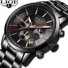 LIGE sport Watch Analog Quartz Watches Men Top Brand Luxury Mens Stainless Steel Waterproof Wristwatch Relogio Masculino