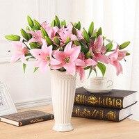 6 cái/lốc vivid bất động cảm ứng 3 thủ trưởng nhân tạo lily flower bridal flower trồng giả cho đảng home decoration 4 colours