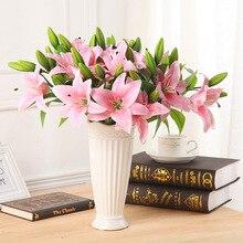 6 unids/lote vivid real touch 3 cabezas de flor del lirio artificial nupcial de la flor falsa planta para el partido casero de la decoración 4 colores