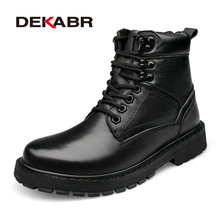 DEKABR Men Boots 100% Genuine Leather Ankle Boots Lace-Up Casual High Quality Cow Leather Boots Winter Men Shoes Plus Size 37~50