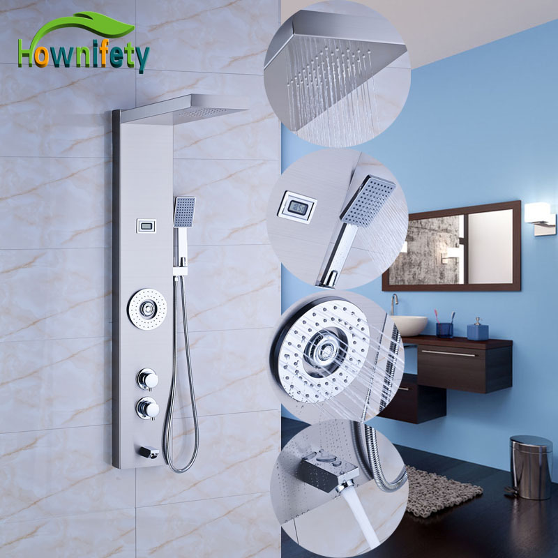 Nickel Brushed Thermostatic Shower Panel Solid Brass Shower Faucet Sets Rainfall Shower Head with Hand Shower