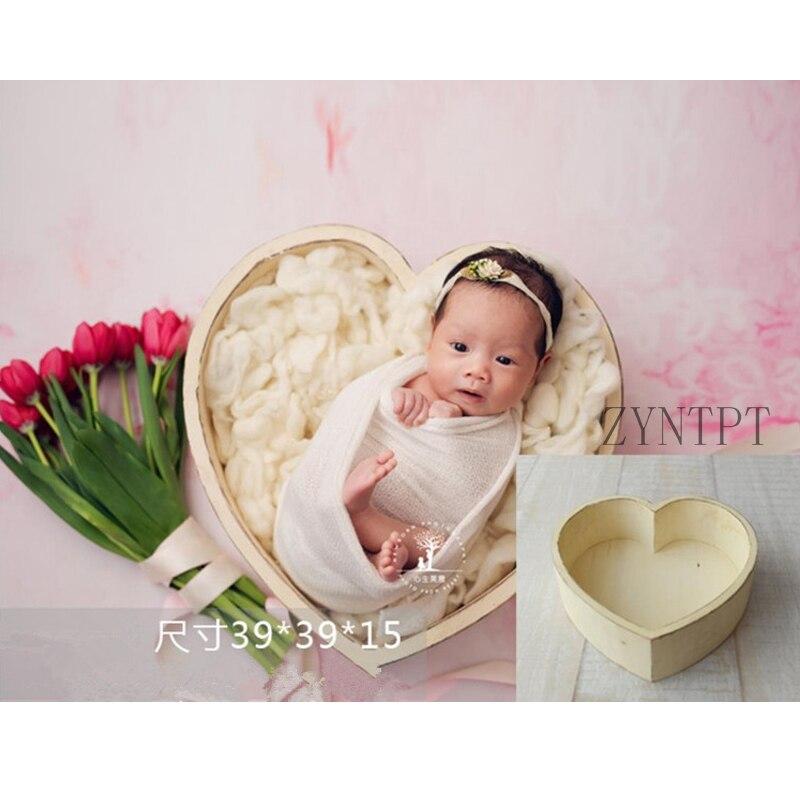 Amor Do Coração de Madeira Colocando Cestas Para Sessão de Fotos Newborn Fotografia Props Bebê Acessórios Photoshoot Enchimento Cesta Fotografia