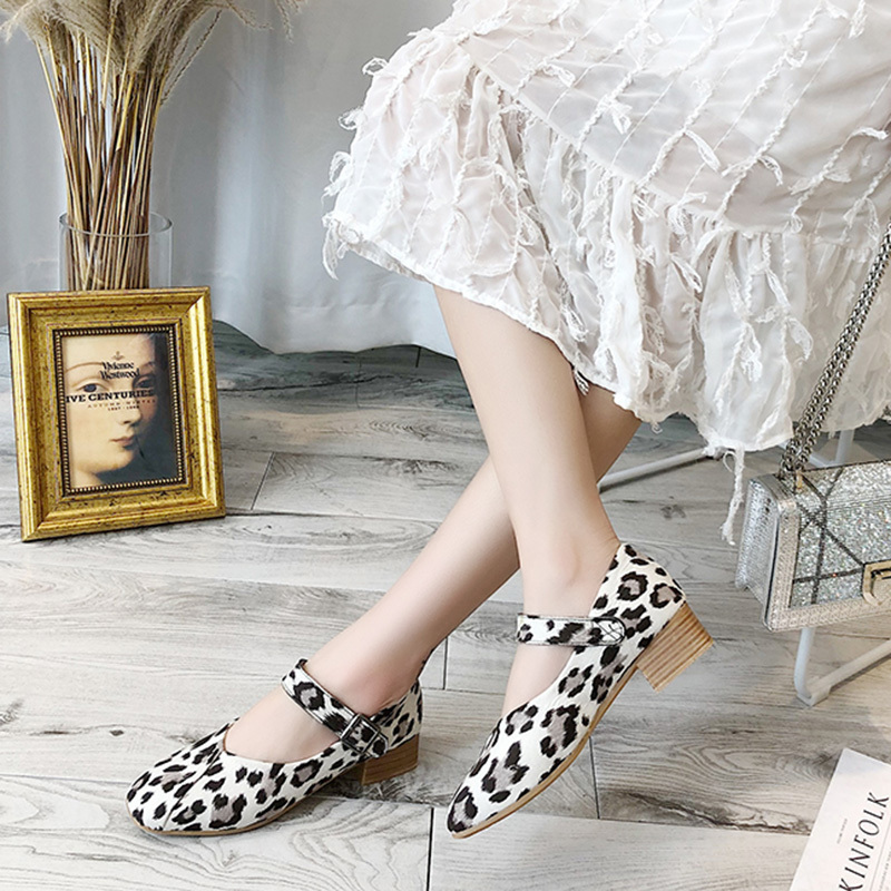 AARDIMI 2019 Leopard Print Shallow Women Pumps Summer Buckle Strap Casual Platform Shoes High Heeled Ladies Fashion Shoes in Women 39 s Pumps from Shoes
