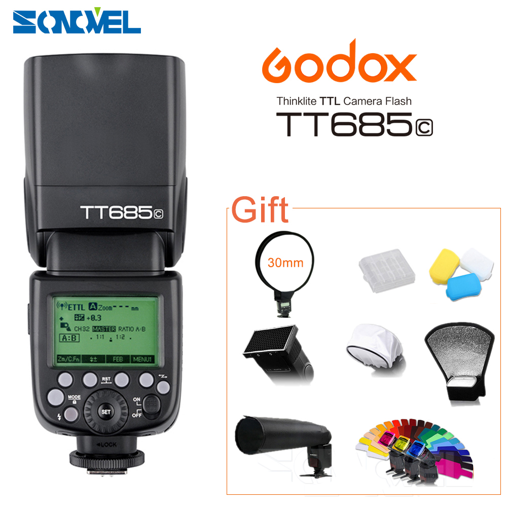 GODOX E-TTL TT685C Camera Flash Speedlite 2.4GHz High Speed 1/8000s GN60 for Canon EOS 800D 760D 750D 650D 80D 77D 60D 7D 6D 5Ds godox v860ii v860ii c e ttl hss 1 8000s li ion battery speedlite flash for canon 800d 760d 750d 80d 70d 60d 1300d 1200d 650d 1ds