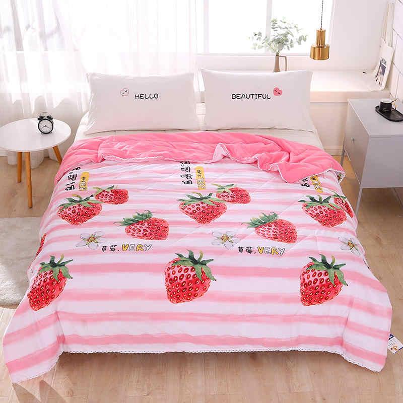 Soft Skin-friendly Summer Duvet Lemon Pattern Washed Cotton Thin Quilt Children Adults Duvet Pillowcase Wholesale (200x230cm)