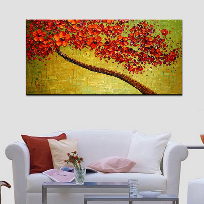 Modern Hand-painted Abstract Pictures Red Cherry Blossom Tree and Flowers Palette Knife Oil Paintings on Canvas 3D Wall Decor