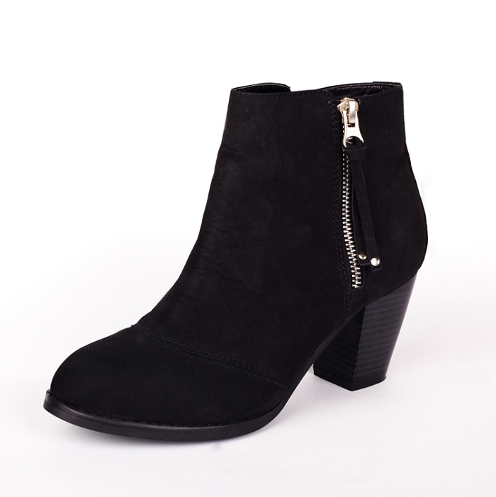 Fashion Womens Mighty Black Leather Zip Ankle Booties Side -4023