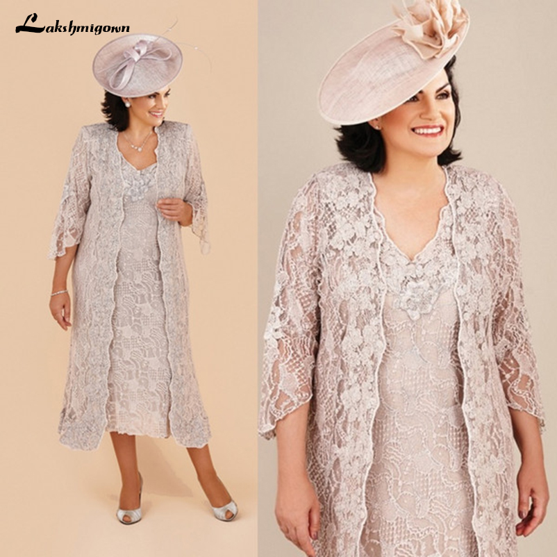 Women's Lace Mother Of The Bride Dresses Suit Formal Wedding Party Dresses With Long Jacket V Neck Tea Length Plus Size Vintage
