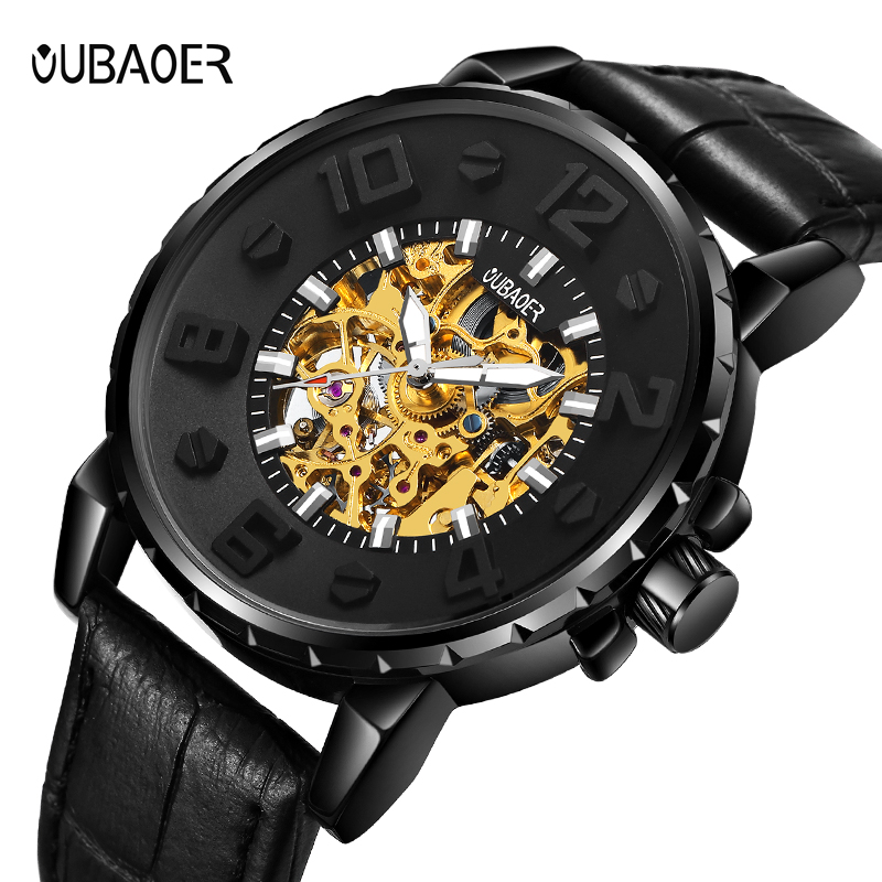 OUBAOER Luxury Brand Fashion Casual Men Watches Automatic Mechanical Watch Business Clock Leather Strap montre homme 2017 New fossil grant fs5068