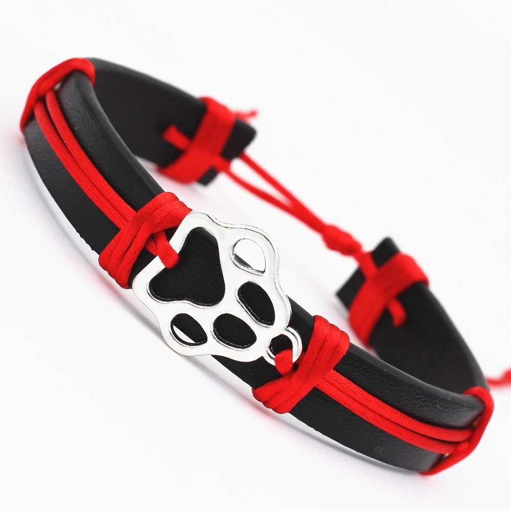 Амулет лапа собаки кожаный браслет Wish Card для женщин девушек регулируемый дружбы античный серебряный цвет домашних животных браслеты