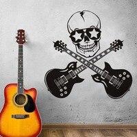 Cool Design Criativo Engraçado Adesivos de Parede Decoração Do Quarto Pintura Mural Da Parede Da Arte do Vinil Do Crânio E Guitarra Guitar Rock Silhueta Decalques de Parede