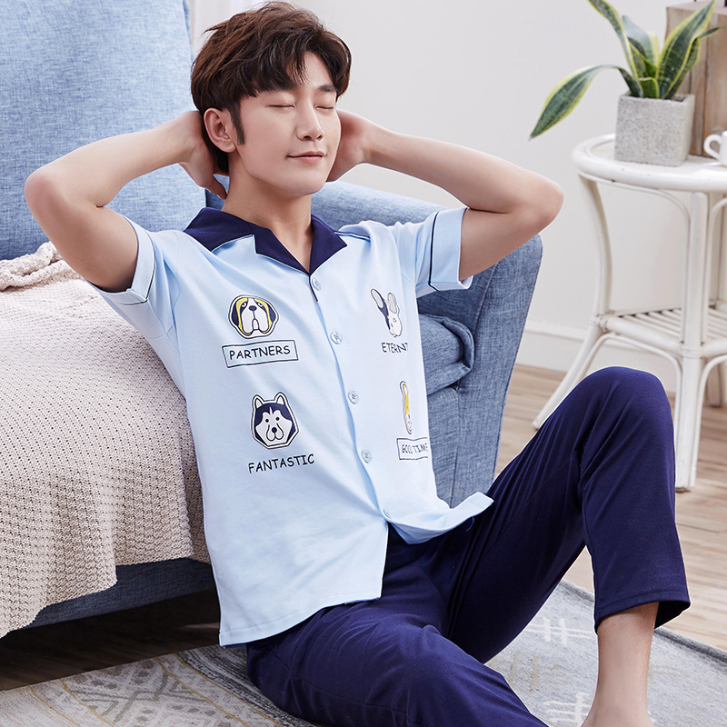Summer Pajamas For Men Short Sleeve Cotton Knitted Pyjamas Shorts Men Sleep Pajama Set Plus Size 3XL