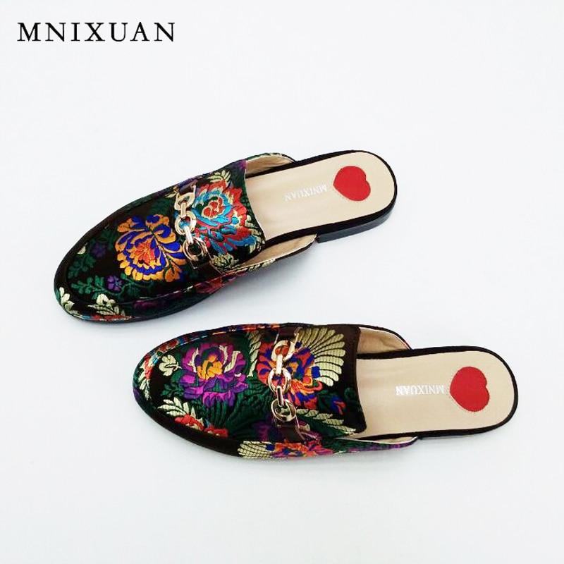 Silk sandals women high quality handmade flats ladies mules shoes 2017 new summer chaussure femme Closed