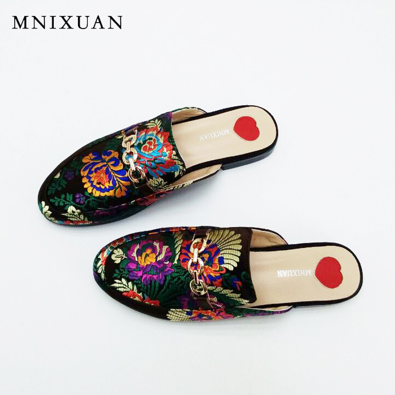 Silk sandals women high quality handmade flats ladies mules shoes 2017 new summer chaussure femme Closed toe slippers big size