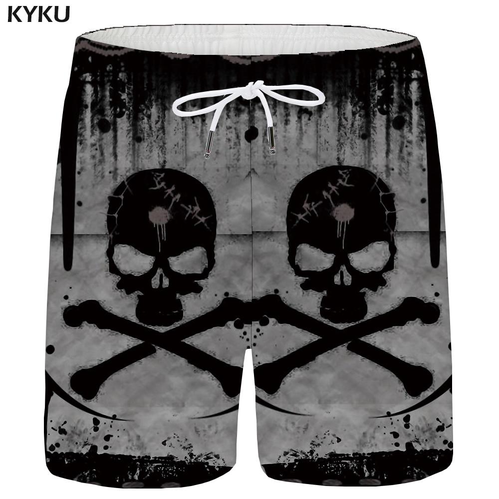 KYKU Skull Shorts Men Ink Casual Short Pants Poison 3d Printed Shorts Cargo Gray Hip Hop Mens Shorts Cool Summer New Streetwear