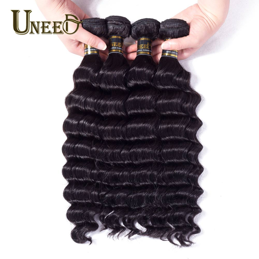 Uneed Hair 4 Bundles Peruvian Loose Deep Wave 100% Human Hair Bundles 8-26Inch Remy Hair Weave Extension Natural Black Color
