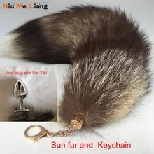 New Fur tail keychain Super Large 40cm Big handbag accessories Sun Fox Real Keychain Women Bags tassel Car key Ring jeweler