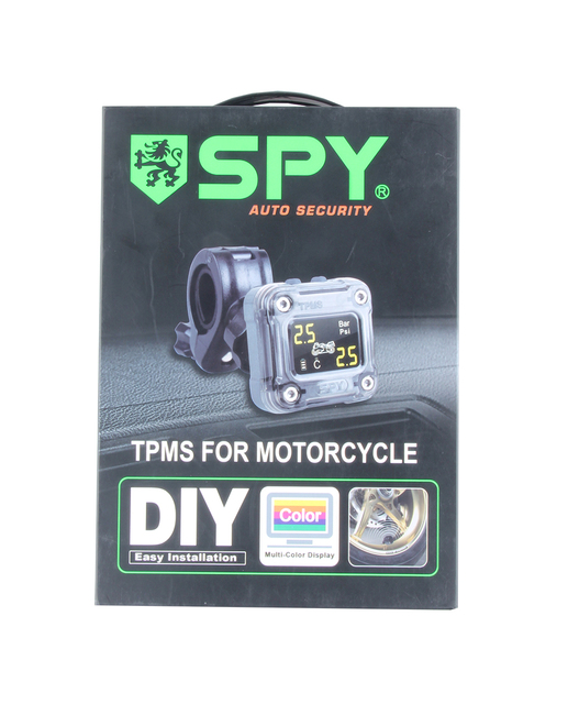 Good quality SPY motorcycle tire pressure monitoring system with 2 external TPMS sensor LCD display &easy DIY installation