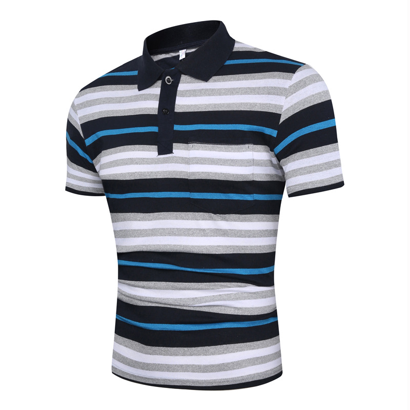 Summer new style casual style multicolor stripe pattern large size fashion lapel short sleeve men's   POLO   P0059