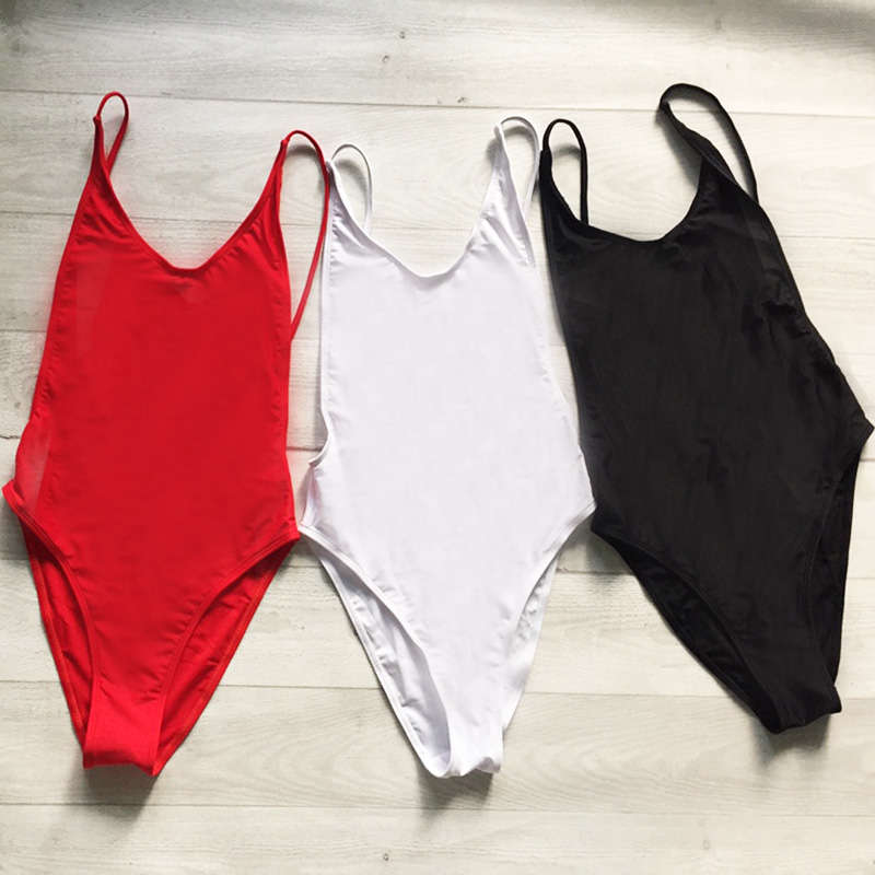 572555a3be679 Solid One Piece Swimsuit Blank Sexy Swim Suit High Cut Bosysuit Bathing Suit  Black mayo badpak