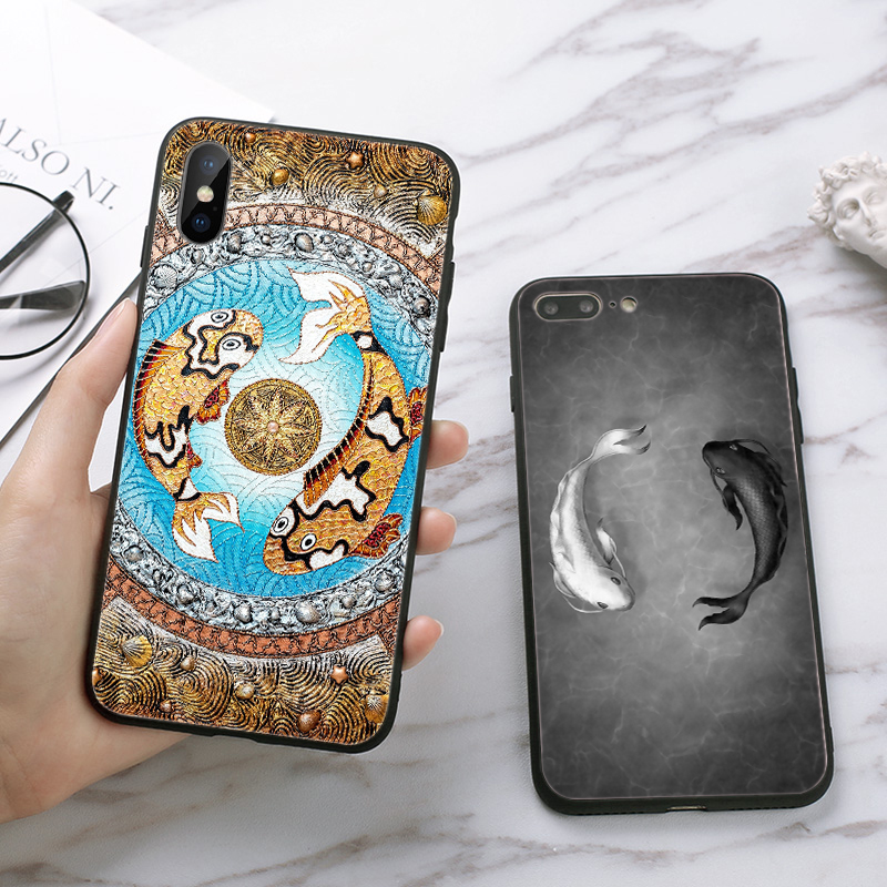 Lavaza Yin Yang Koi Fish Silicone Case for iPhone 5 5S 6 6S Plus 7 8 11 Pro X XS Max XR in Half wrapped Cases from Cellphones Telecommunications