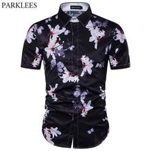 Mariposa 3D estampado Hawaii camisa hombres 2017 marca nueva de manga corta  playa hawaiana camisas algodón hombre vestido camisa. f411b81e250
