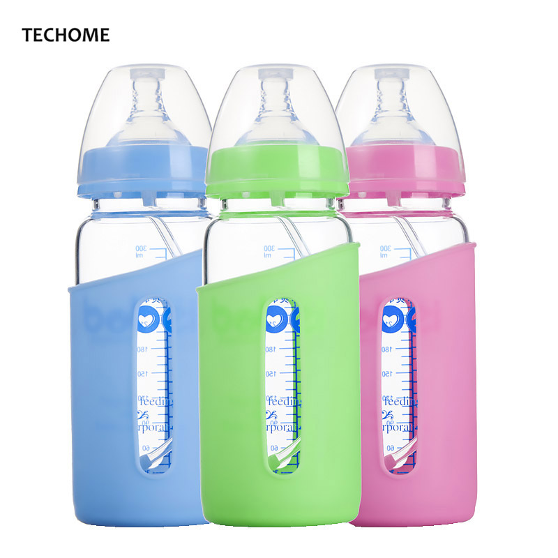 300ml Baby Drinking Cups Wide Caliber Baby Feeding Bottle Anti-Hot Silicone Protection Cover Glass Bottle Childrens Cup