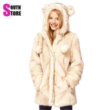 Southstore 2017 Winter Cute Kawaii Warm Fur Coat Animal Faux Fur Coats Casual Fur Jacket for Women Female Wool Outwear Overcoat
