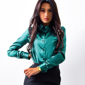 2019 New Fashion Women Blouse Office Lady Solid Satin Long Sleeve Shirt Turn-down Collar Tops Burgundy Green and Pink Blouses