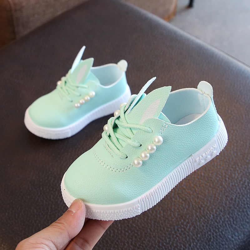 Children Toddler Baby Pearls Sneaker Girls Cartoon Soft Anti-Slip Single Shoes 2019 Spring And Autumn New Style Korean-Style